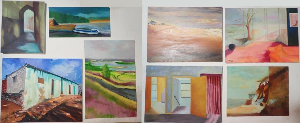 Grouping of Artist Signed Unframed Paintings