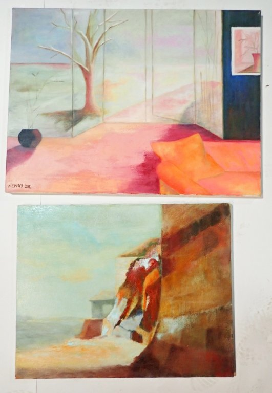 Grouping of Artist Signed Unframed Paintings - 3