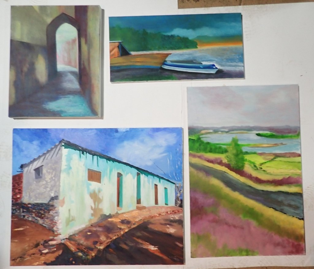 Grouping of Artist Signed Unframed Paintings - 6
