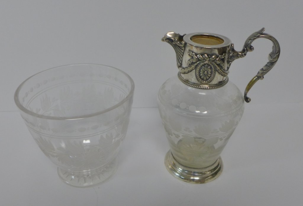 Etched Crystal & Sterling Silver Flagon & Vessel