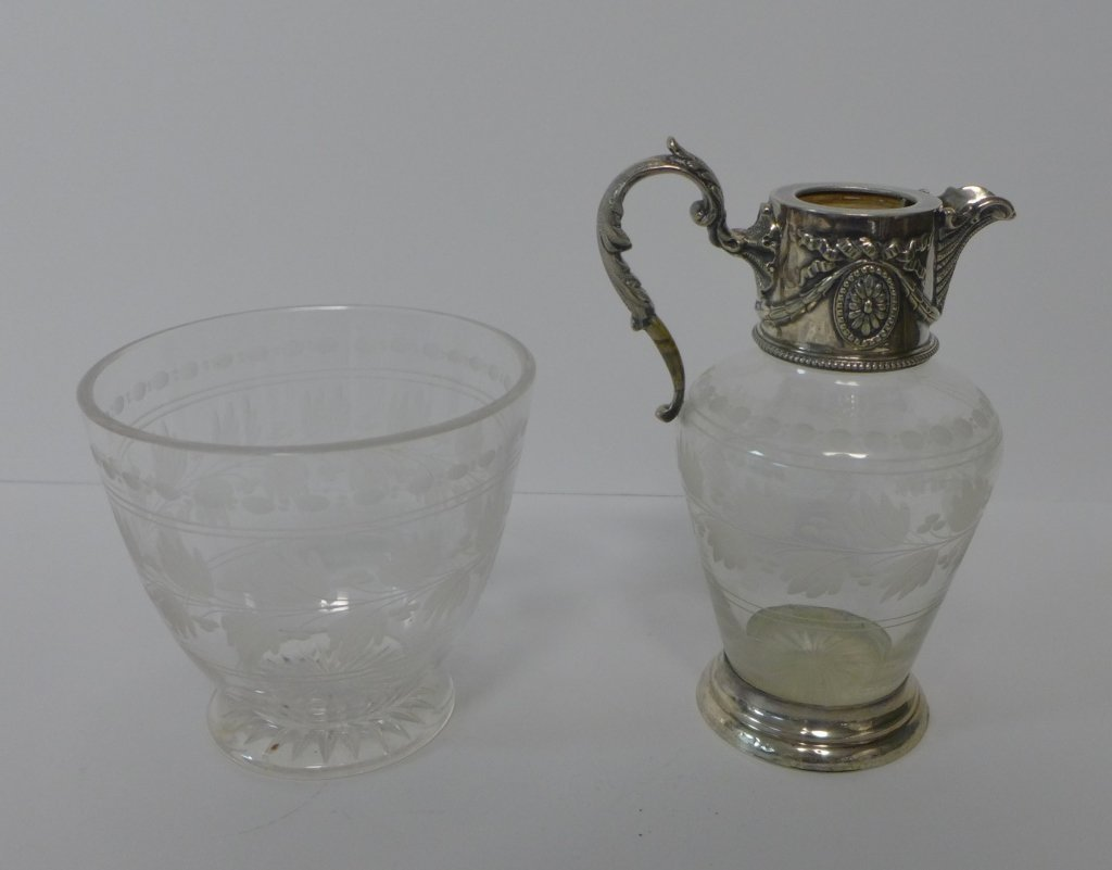 Etched Crystal & Sterling Silver Flagon & Vessel - 2