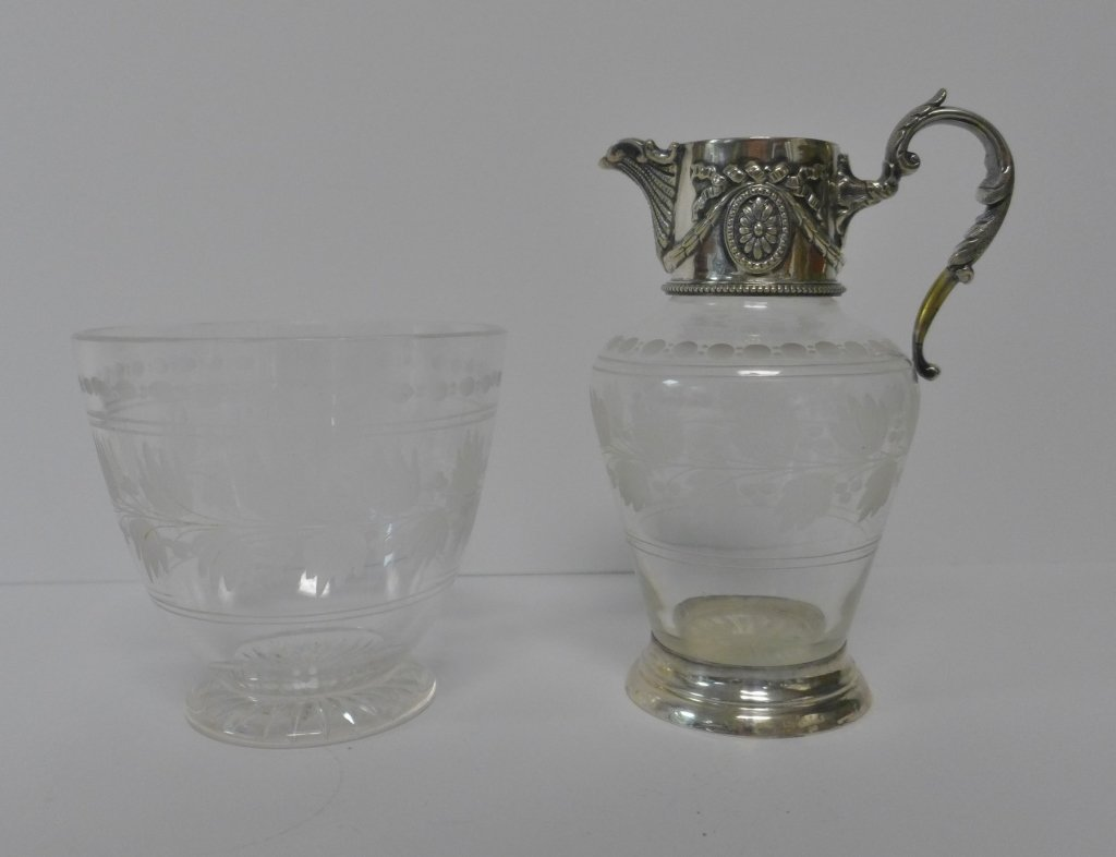 Etched Crystal & Sterling Silver Flagon & Vessel - 3