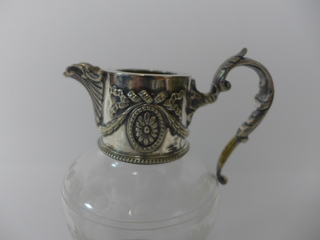 Etched Crystal & Sterling Silver Flagon & Vessel - 6
