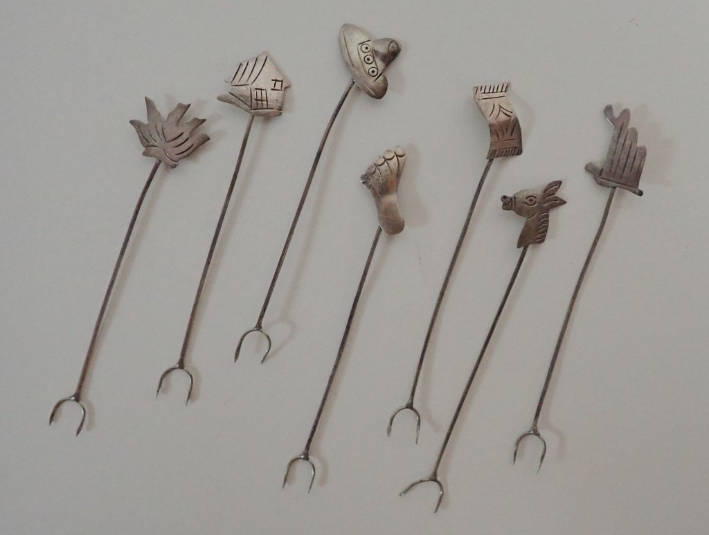 Set of 7 Mexican Sterling Silver Cocktail Forks