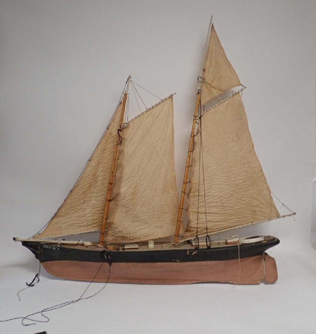 "Large Two-Masted Sailboat Model ""Becky"""