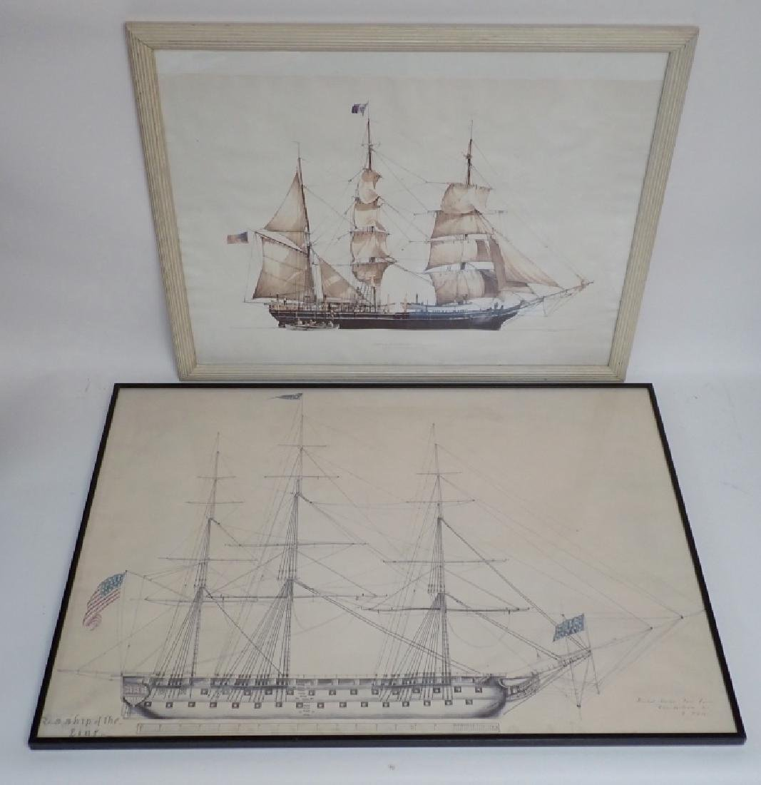 Two Framed Nautical Ship Prints