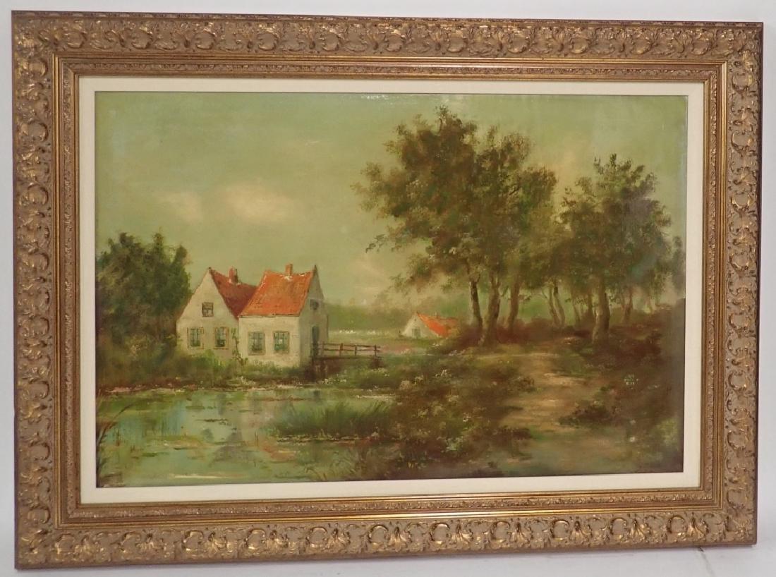 Signed Farm Scene Oil Painting