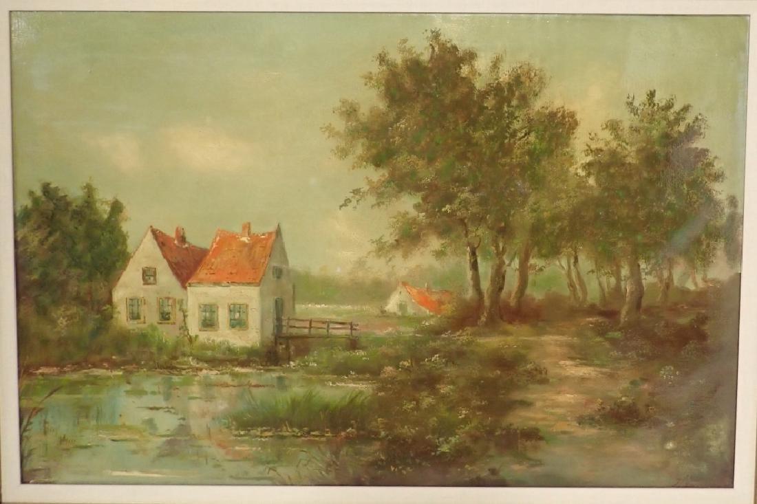 Signed Farm Scene Oil Painting - 2