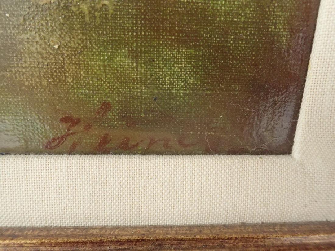 Signed Farm Scene Oil Painting - 3