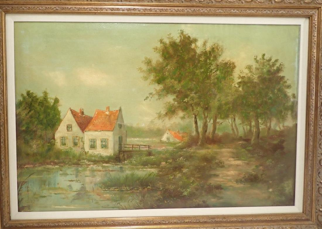 Signed Farm Scene Oil Painting - 8