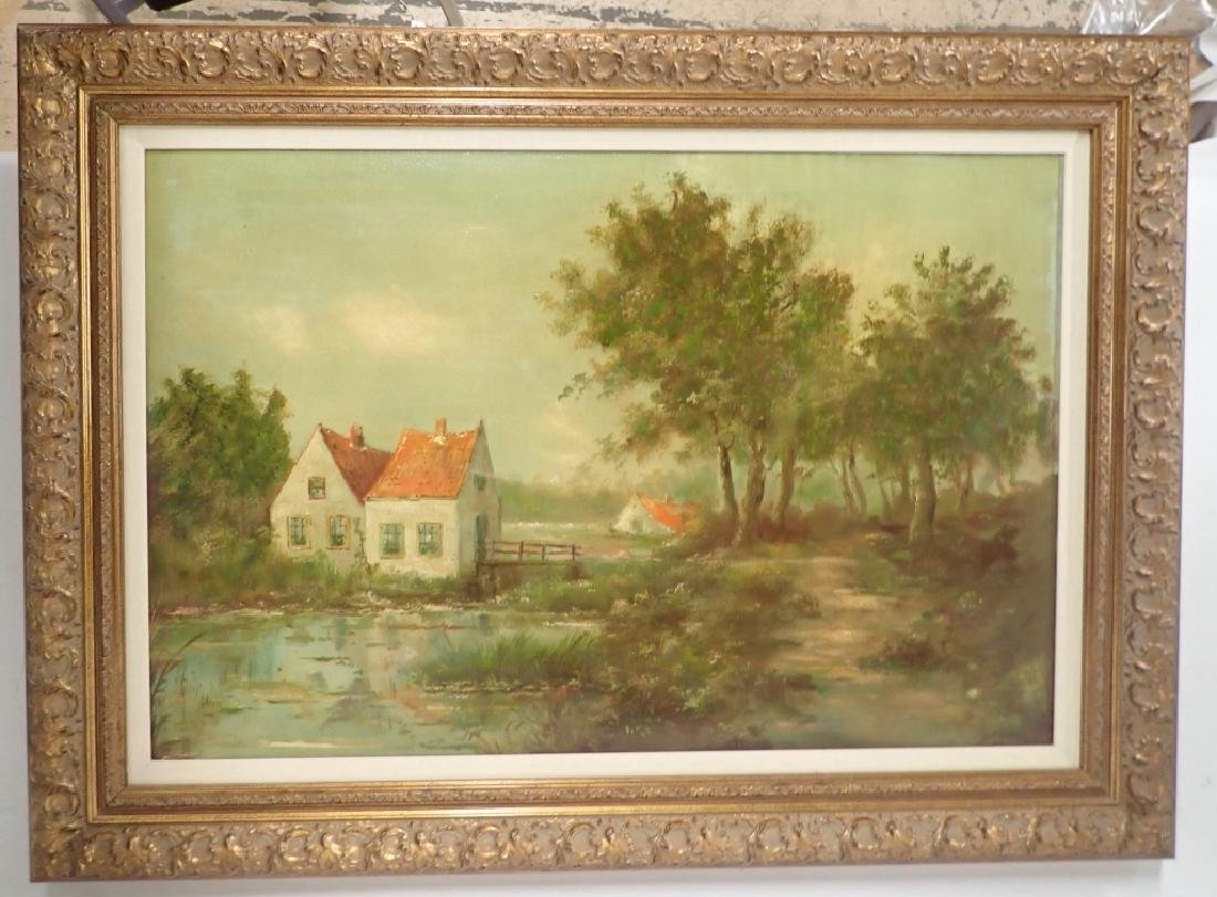 Signed Farm Scene Oil Painting - 9