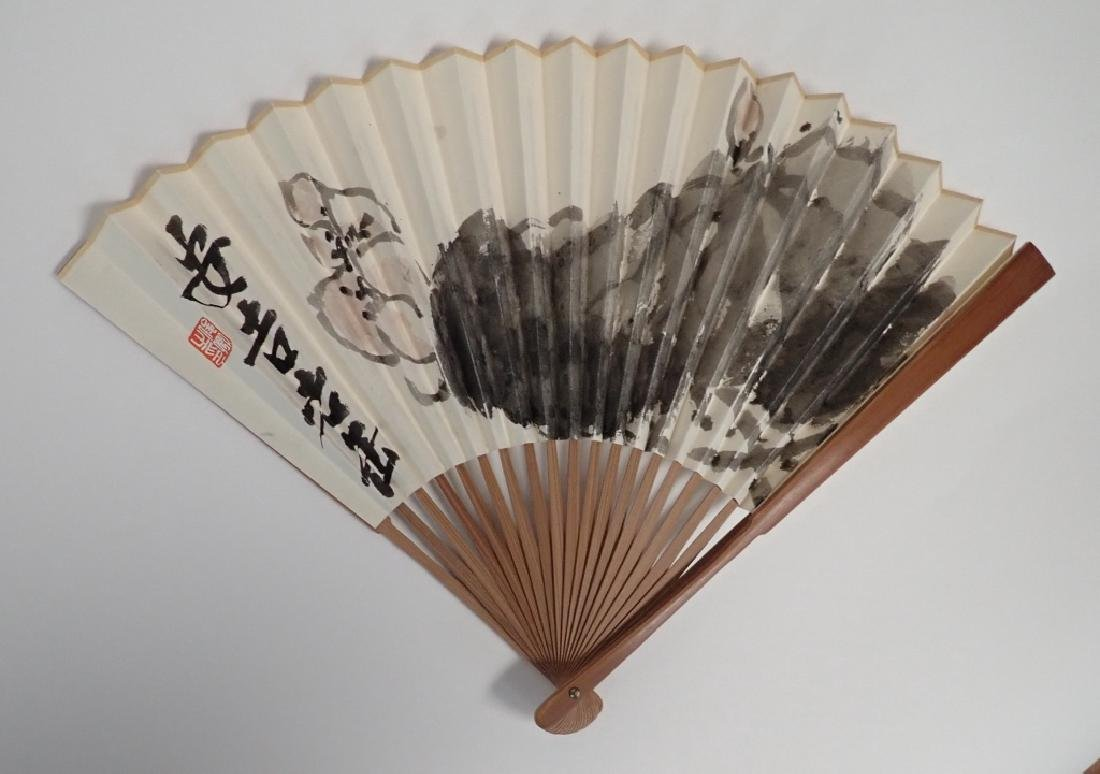 Hand Painted, Signed Chinese Fan - 10