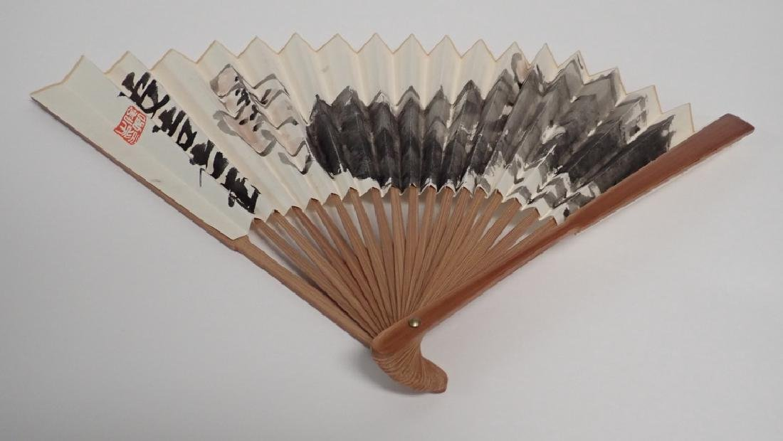 Hand Painted, Signed Chinese Fan - 3