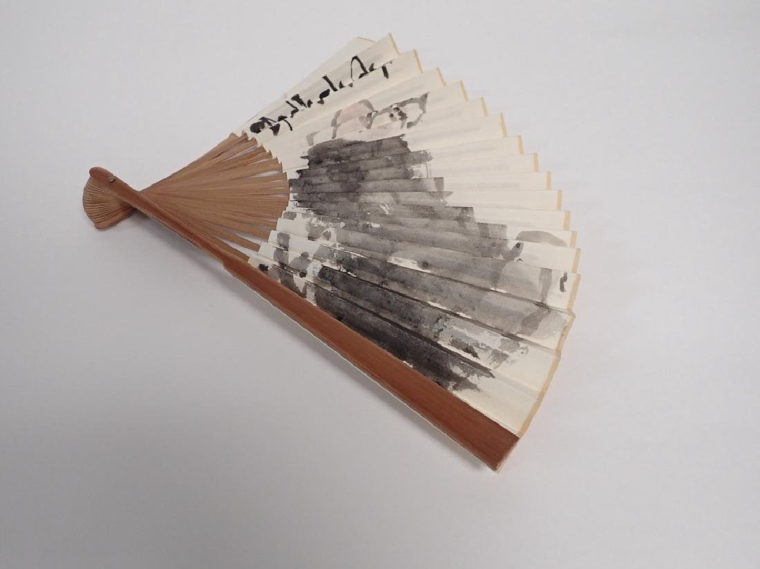 Hand Painted, Signed Chinese Fan - 4