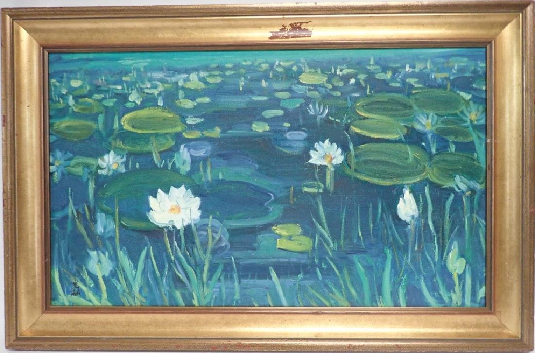 Chinese Signed Oil On Canvas Painting Of Lilies