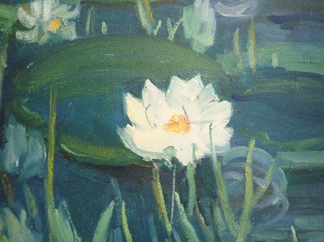 Chinese Signed Oil On Canvas Painting Of Lilies - 4