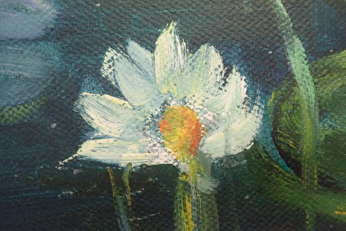 Chinese Signed Oil On Canvas Painting Of Lilies - 5