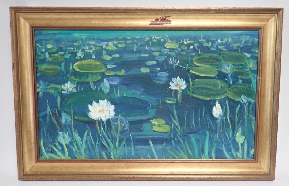 Chinese Signed Oil On Canvas Painting Of Lilies - 9