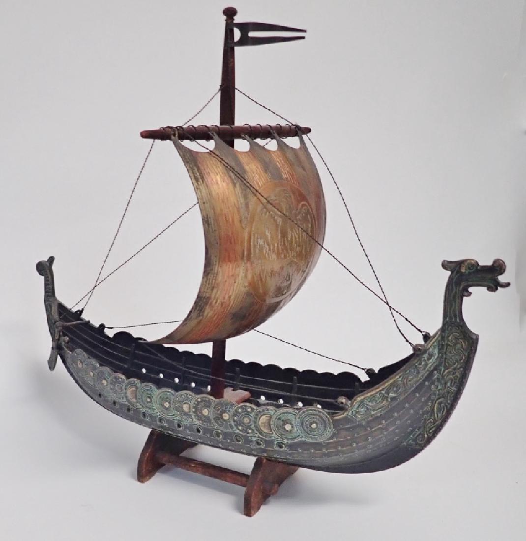 Bronze & Copper Viking Ship Model