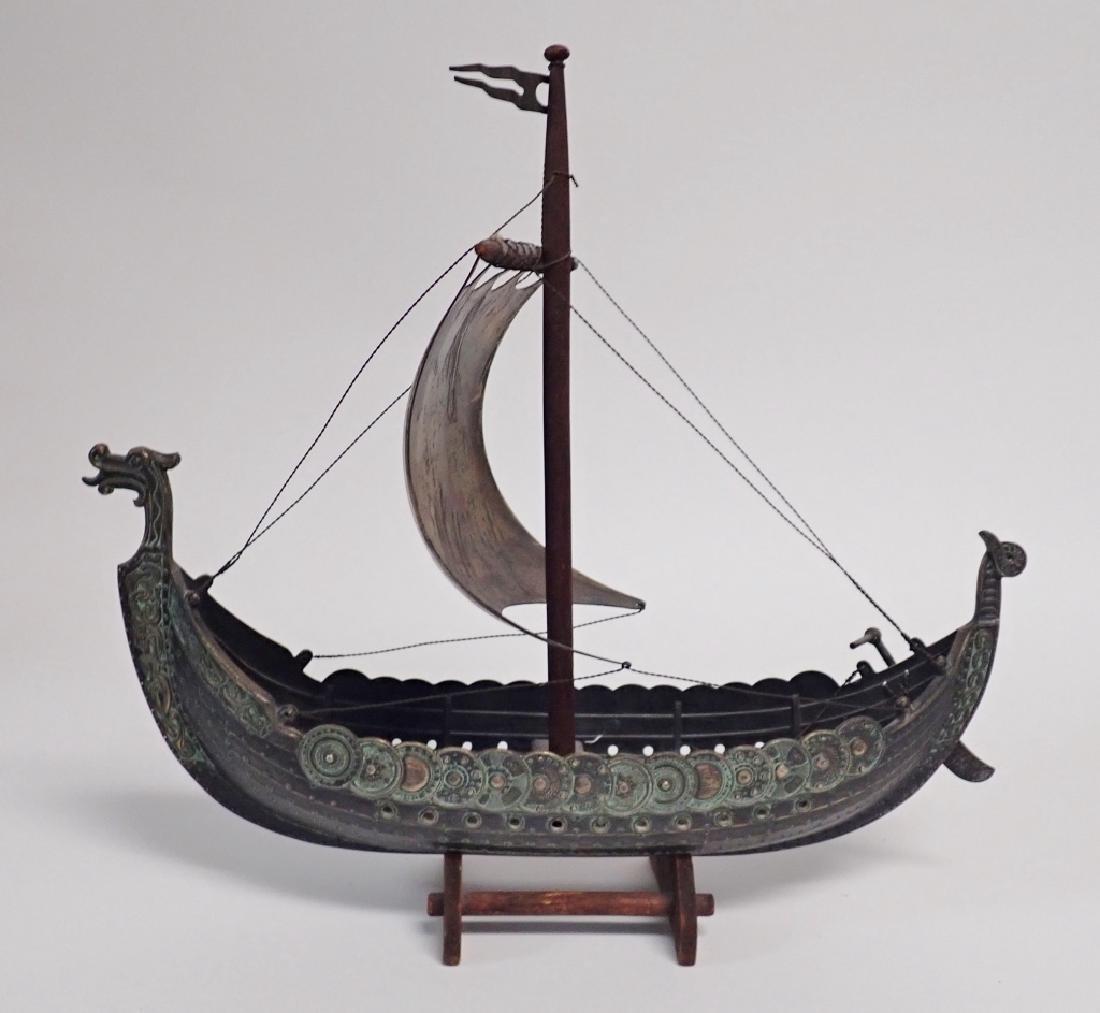 Bronze & Copper Viking Ship Model - 2