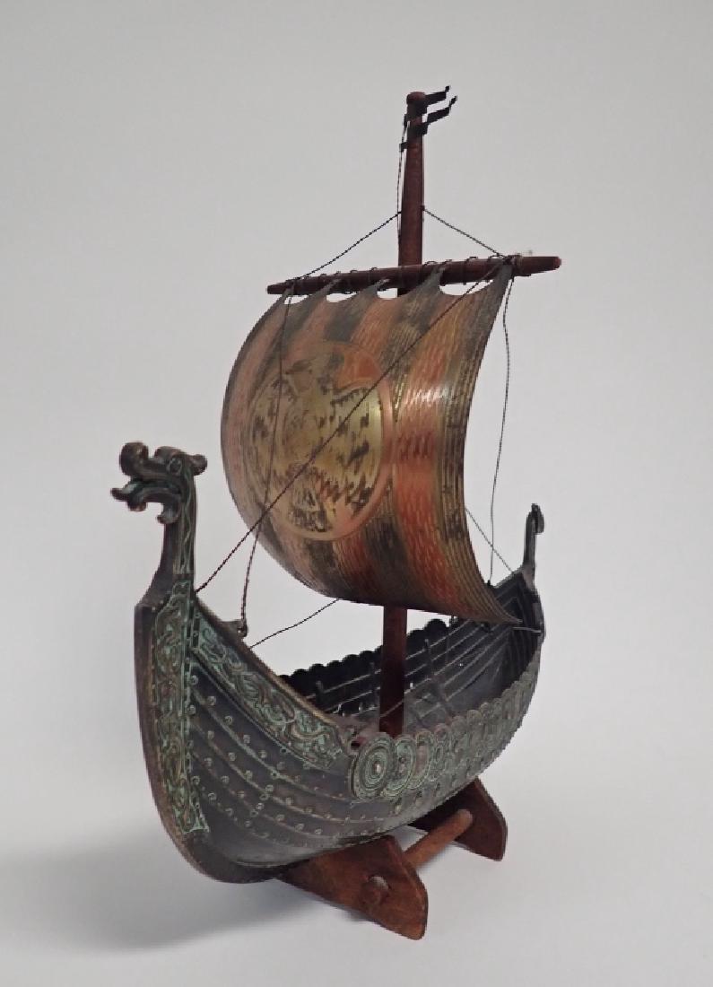 Bronze & Copper Viking Ship Model - 3