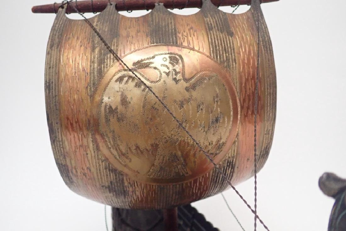 Bronze & Copper Viking Ship Model - 4