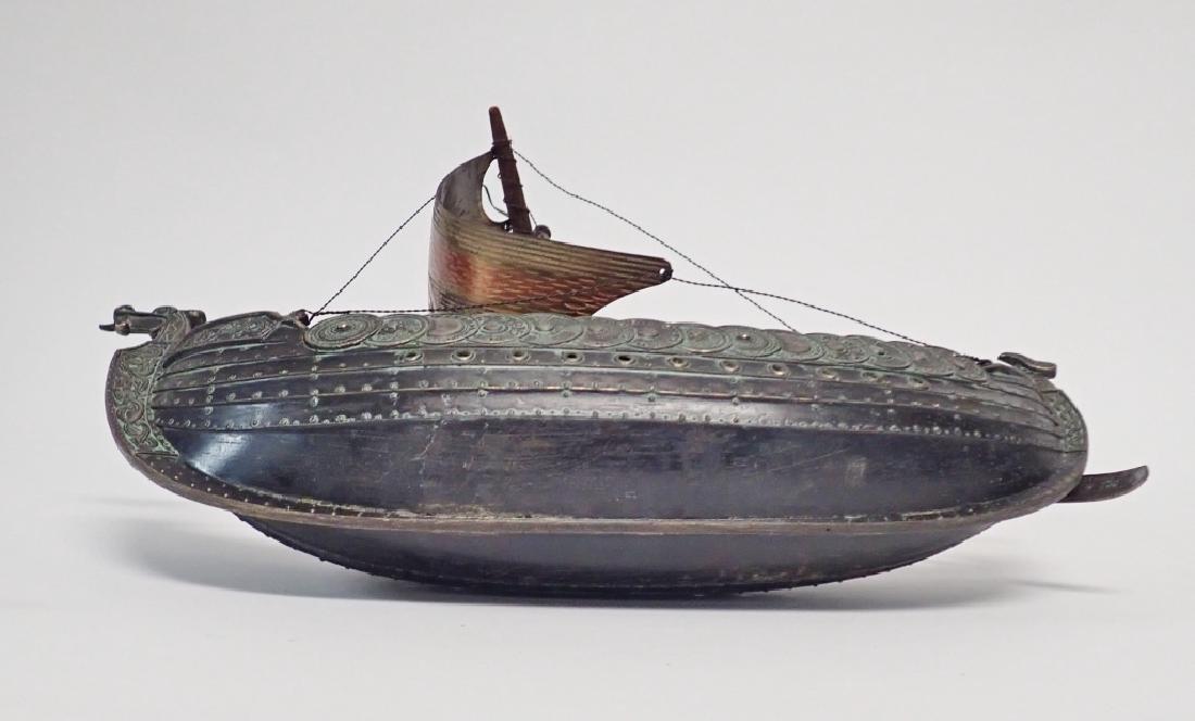 Bronze & Copper Viking Ship Model - 6