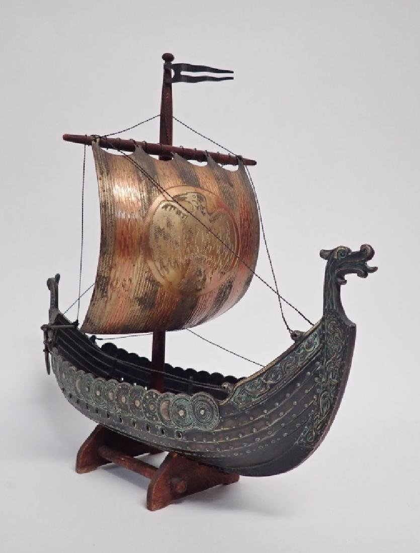 Bronze & Copper Viking Ship Model - 7