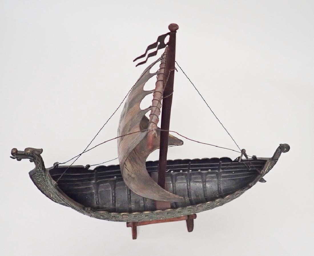Bronze & Copper Viking Ship Model - 9