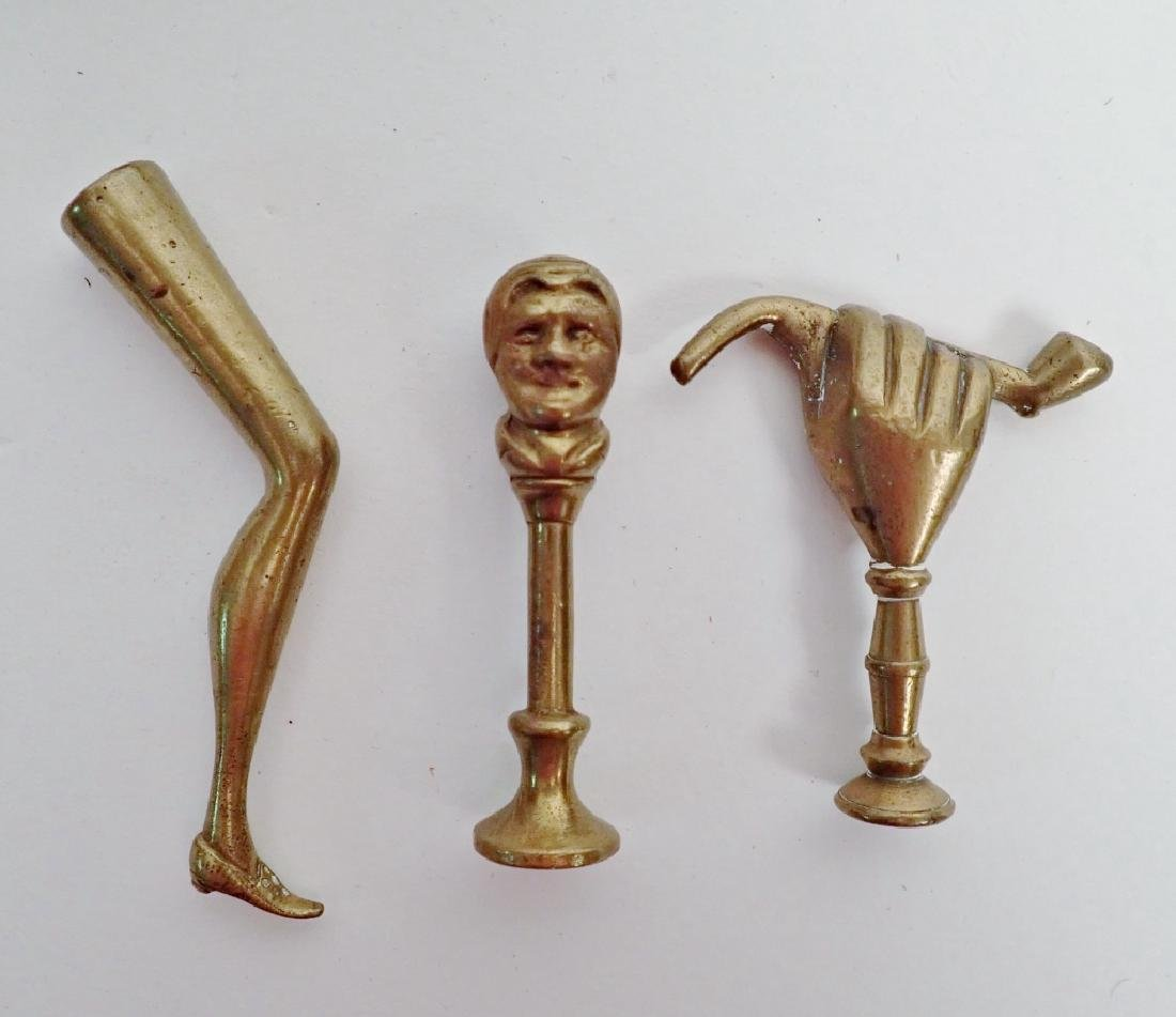 Antique Georgian Solid Brass Pipe Tampers - 5