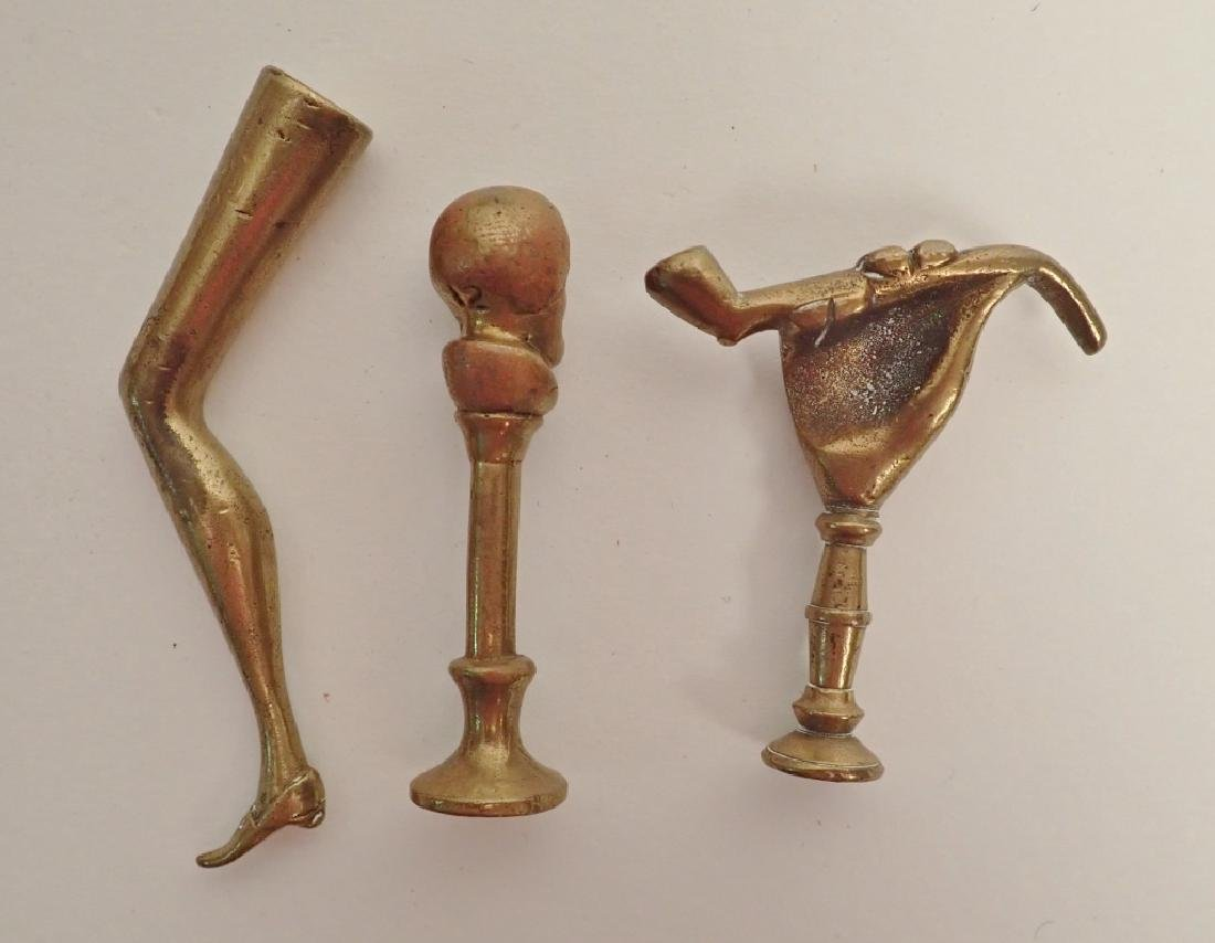 Antique Georgian Solid Brass Pipe Tampers - 6