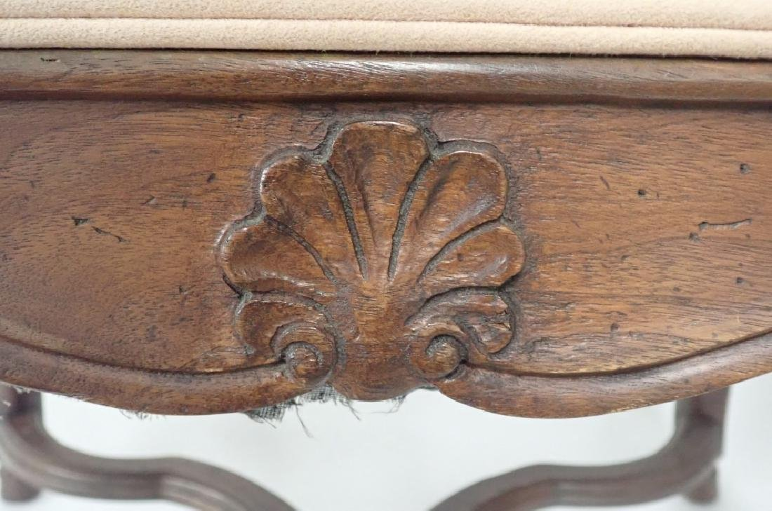 Vintage French Provincial Carved Wood Ottoman - 3