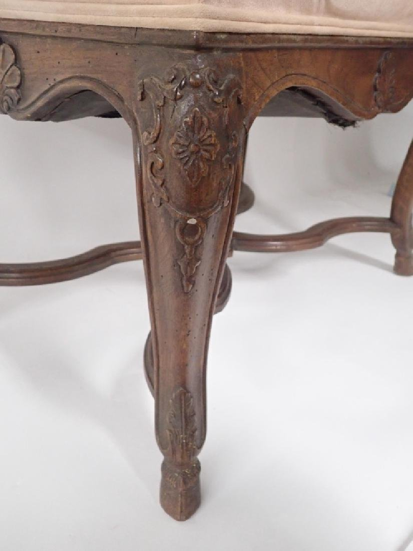 Vintage French Provincial Carved Wood Ottoman - 4