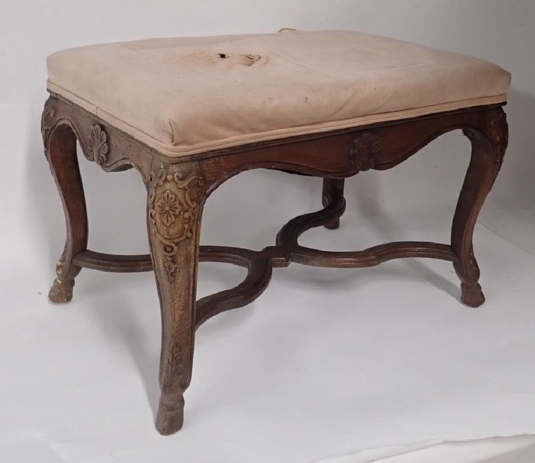 Vintage French Provincial Carved Wood Ottoman - 6