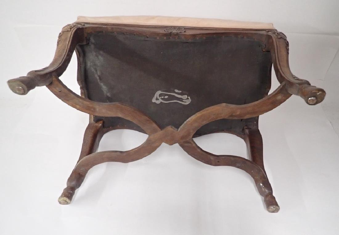 Vintage French Provincial Carved Wood Ottoman - 7