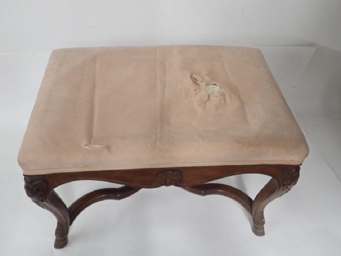 Vintage French Provincial Carved Wood Ottoman - 8