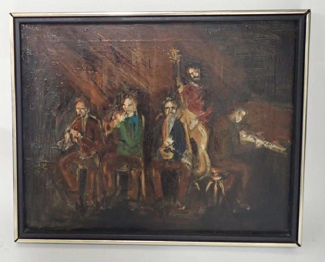Framed Oil Painting of Jazz Musicians
