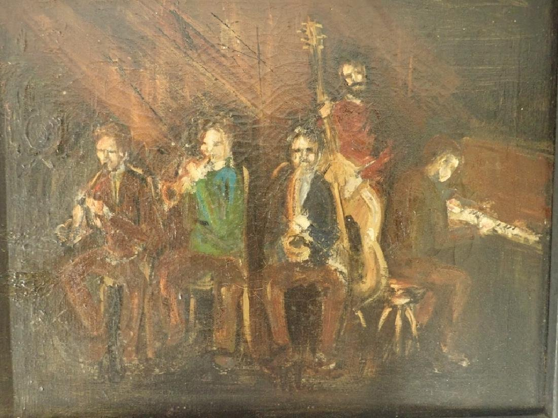 Framed Oil Painting of Jazz Musicians - 2