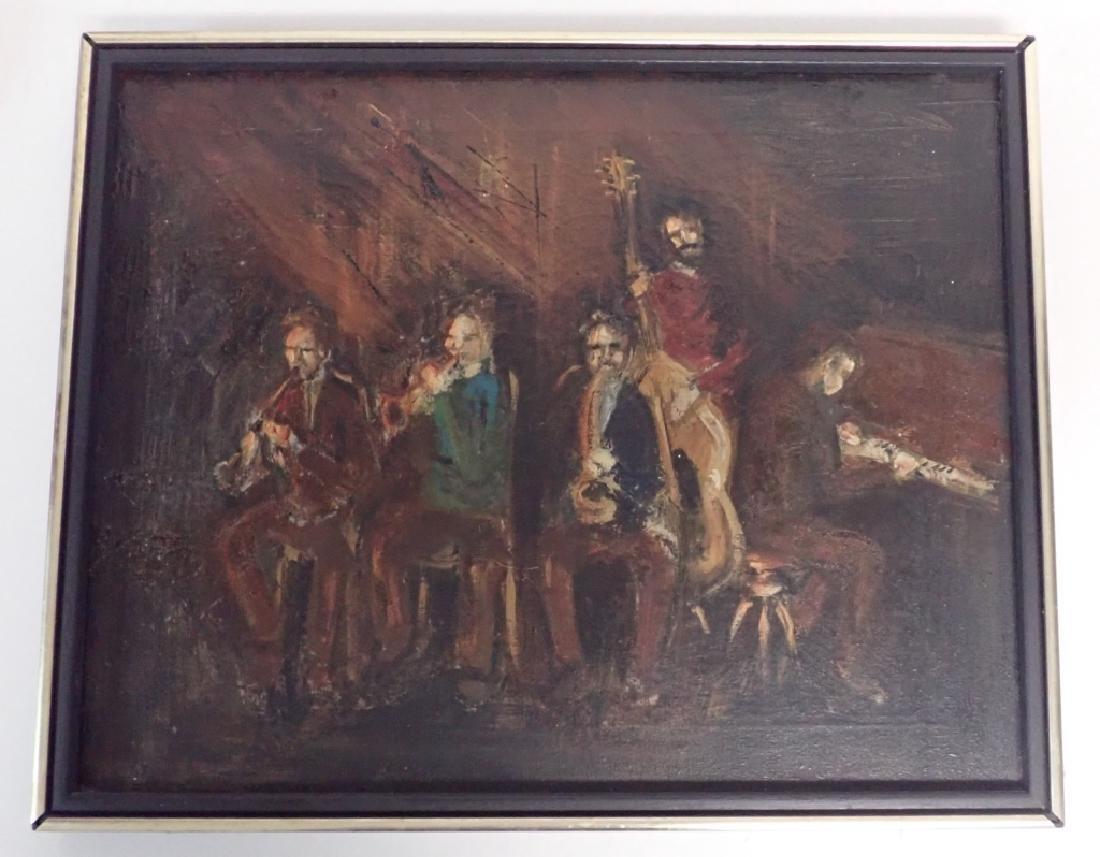 Framed Oil Painting of Jazz Musicians - 7