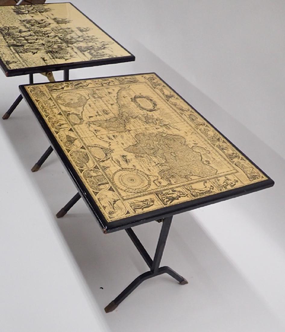 Pair Unique Iron & Decoupage Flip Tray Tables - 3