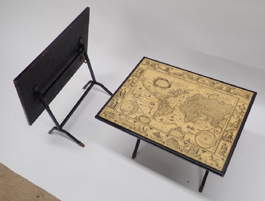 Pair Unique Iron & Decoupage Flip Tray Tables - 4