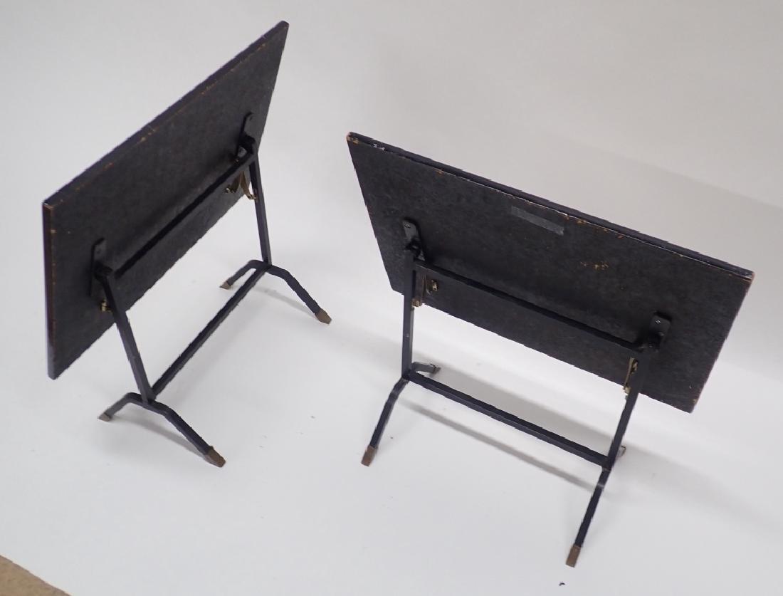 Pair Unique Iron & Decoupage Flip Tray Tables - 5