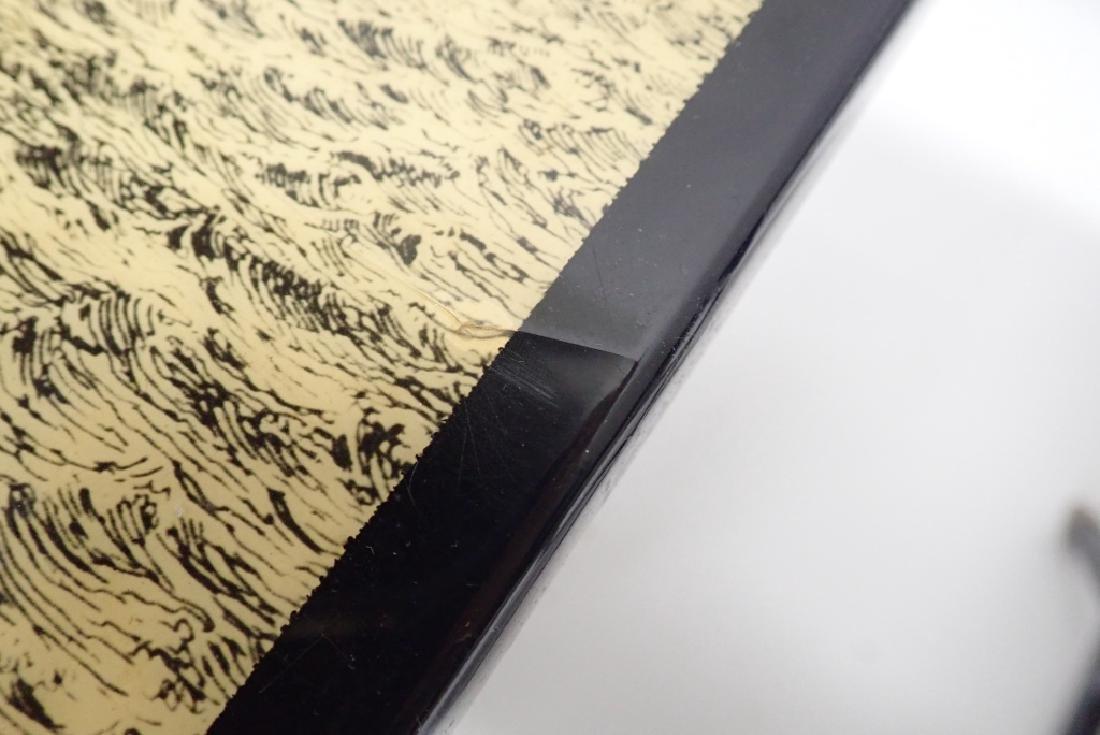 Pair Unique Iron & Decoupage Flip Tray Tables - 8
