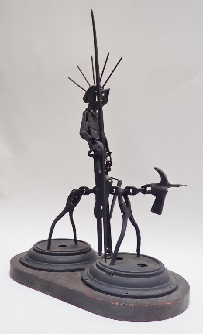 Recycled Metal Art Sculpture of Warrior on Horse - 10