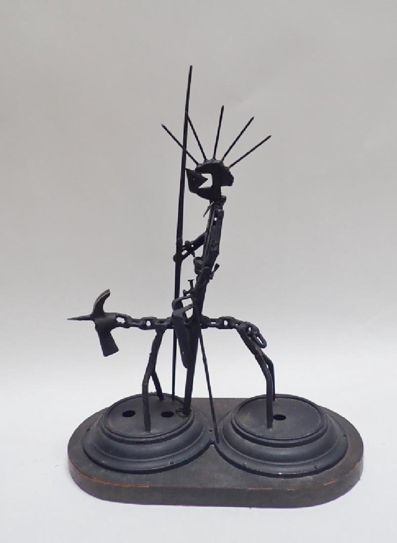 Recycled Metal Art Sculpture of Warrior on Horse