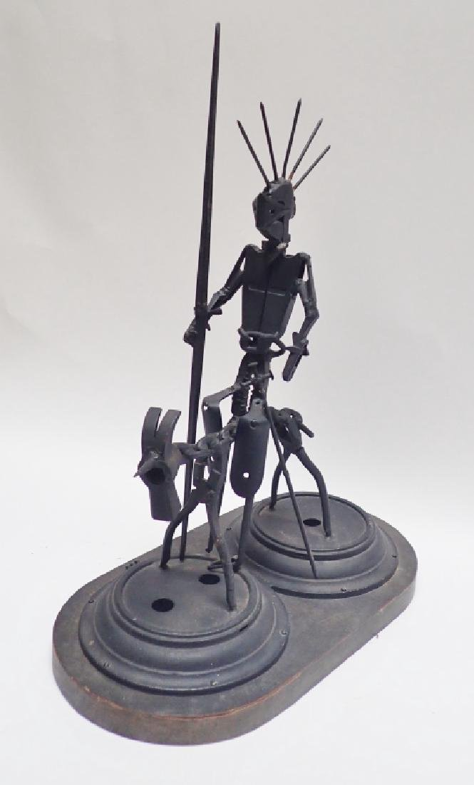 Recycled Metal Art Sculpture of Warrior on Horse - 3