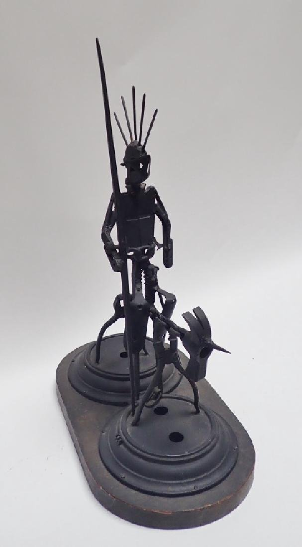 Recycled Metal Art Sculpture of Warrior on Horse - 4
