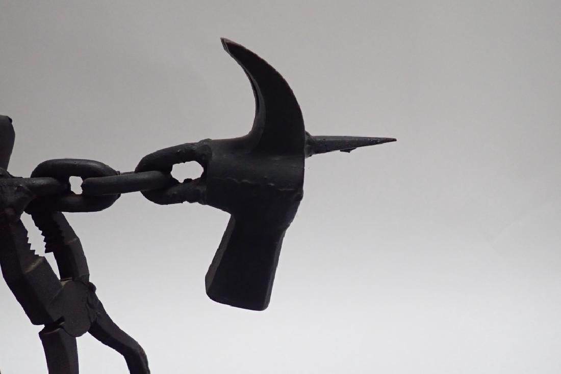 Recycled Metal Art Sculpture of Warrior on Horse - 8