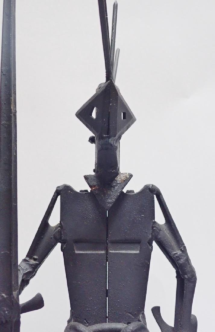 Recycled Metal Art Sculpture of Warrior on Horse - 9