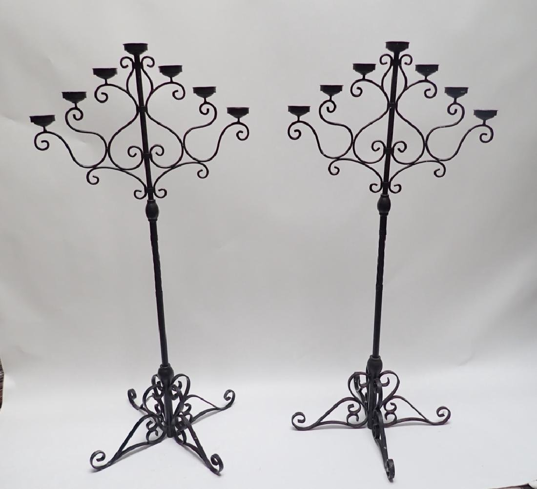 Pair of 5' Tall Iron Floor Candelabras